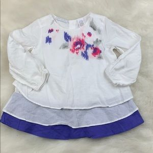 Baby Girl White 3 tiered Long Sleeve Dress 18 M